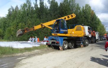 Работа УДС в создание искусственного обвалования на объекте ООО «ЛУКОЙЛ-Западная Сибирь»