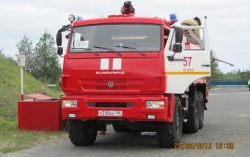 Прибытие пожарного расчета на объект ООО «ЛУКОЙЛ-Западная Сибирь»