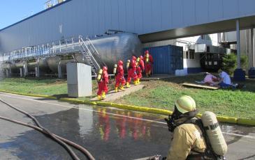 Подача воды для осаждения паров аммиака, оказание помощи пострадавшему на ГСБ, выдвижение спасателей в аварийный цех для устранения аварии