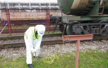 Заземление аварийной железнодорожной цистерны на объекте АО «РН-Москва»