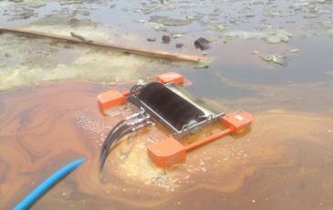 Сбор загрязнений с водной поверхности скиммером НЩ-20
