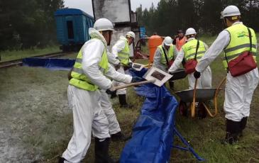 Уборка использованного сорбента и загрязненной почвы