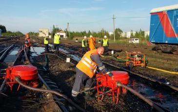 Производство работ по сбору разлившегося нефтепродукта