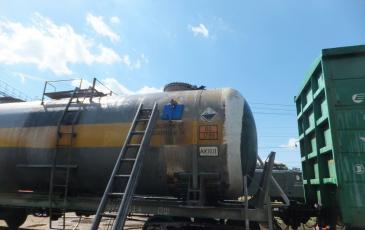 Установка МГУ-1 на место повреждения цистерны