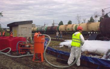 Показ работы оборудования по сбору нефтепродуктов