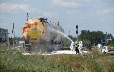 Тушение цистерны с нефтепродуктами