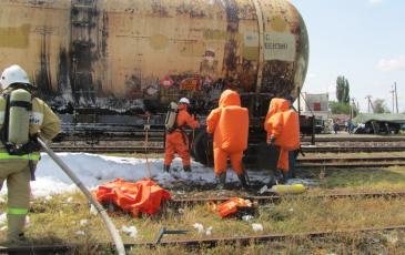 Подготовка к наложению бандажа на место утечки нефтепродуктов