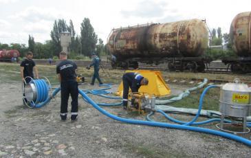 Сбор оборудования после окончания ликвидации разлива нефтепродуктов