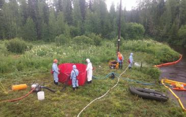 Развертывание ВХН-6к для временного хранения собранного нефтепродукта