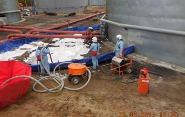 Процесс сбора нефтепродукта с помощью пиролитической системы ролл