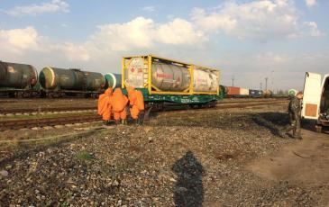 Работа отделения газоспасателей «ЭКОСПАС» по дегазации места ЧС