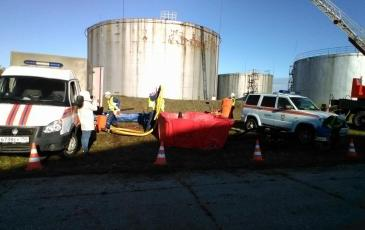 Действия спасателей при локализации разлива нефтепродуктов на РВС