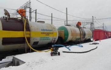 Перекачка соляной кислоты из аварийной цистерны с помощью перекачивающей станции ПД-75