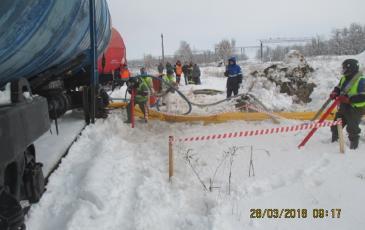Работы по сбору нефти с поверхности