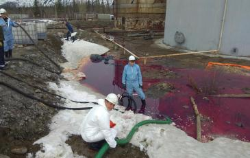 Место разлива нефтепродукта