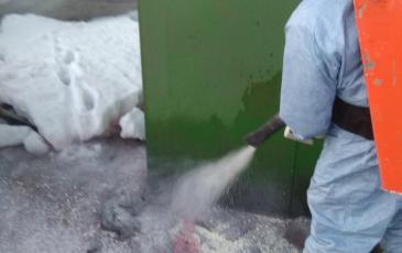 Обработка сорбентом загрязненной территории оборудованием РАС1