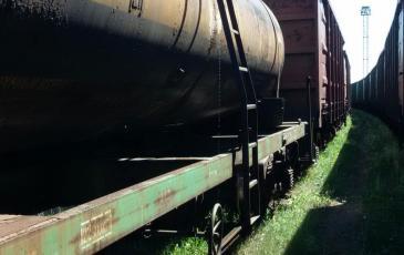 Течь серной кислоты из железнодорожной цистерны