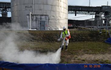 Работа распылителя сорбента