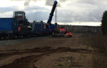Восстановительный поезд в действии