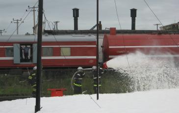 Тушение цистерны силами отряда пожарного поезда
