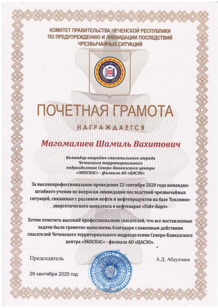 Почетная грамота от Правительства Чеченской Республики