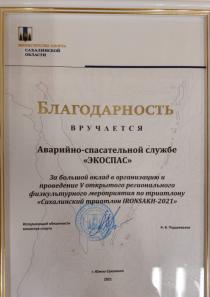 Благодарность от Министерства спорта Сахалинской области