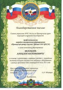 Благодарственное письмо от МЧС России по Приморскому краю